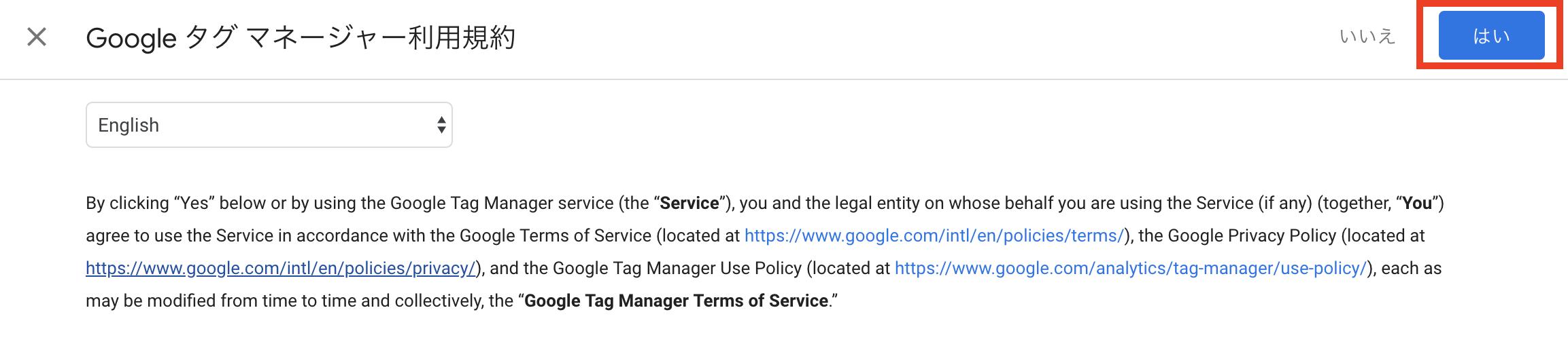 GTM 規約ページのはいボタン