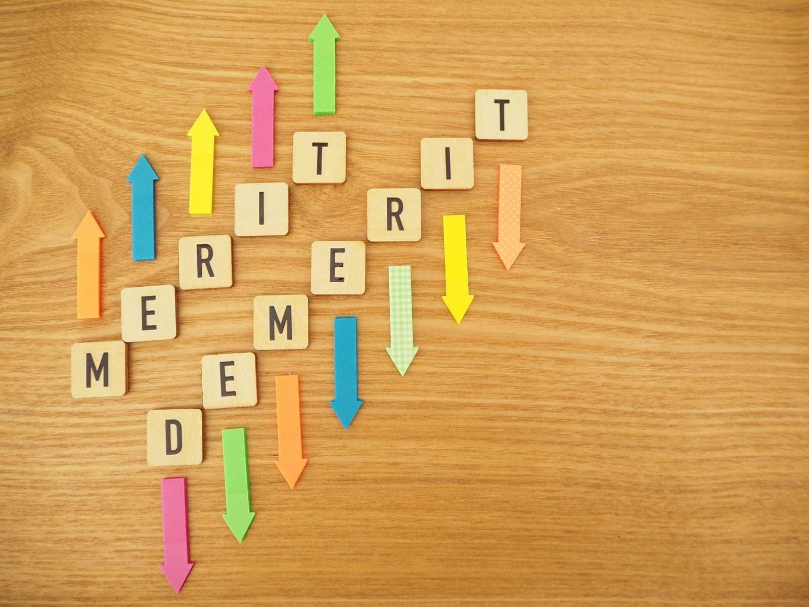 メリットとデメリットの単語と矢印