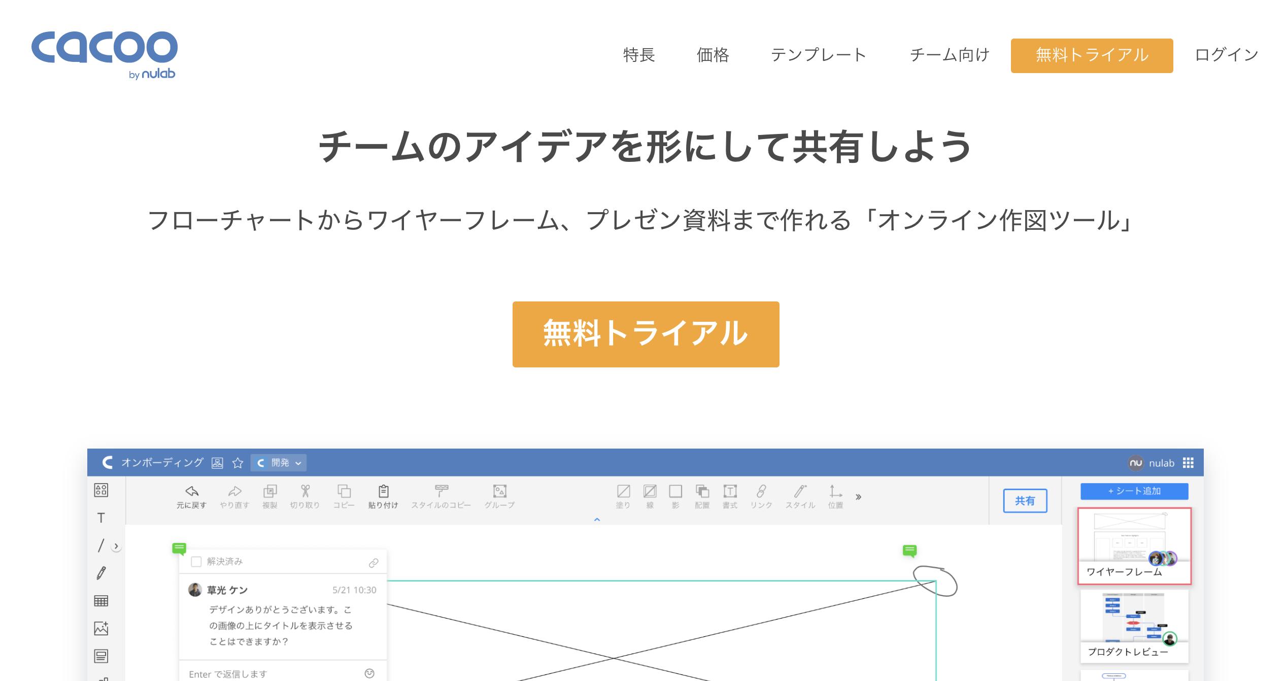 Cacoo_ワイヤーフレームツール