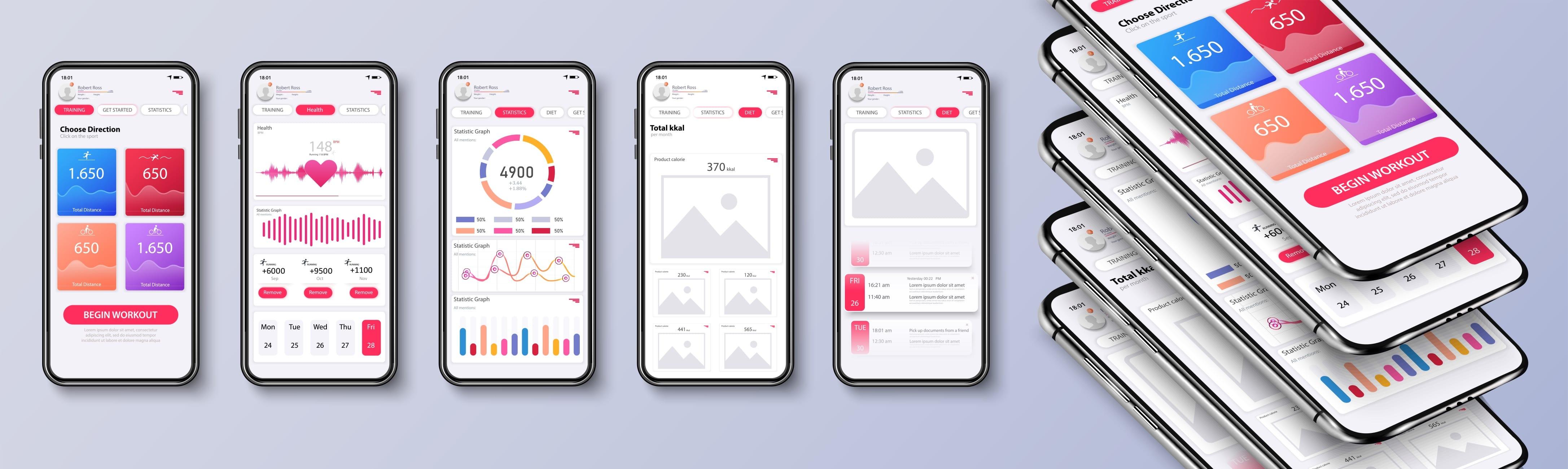 様々なアプリのデザインイメージ