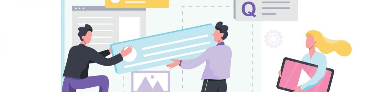 webのコンテンツを組み立てるイラスト