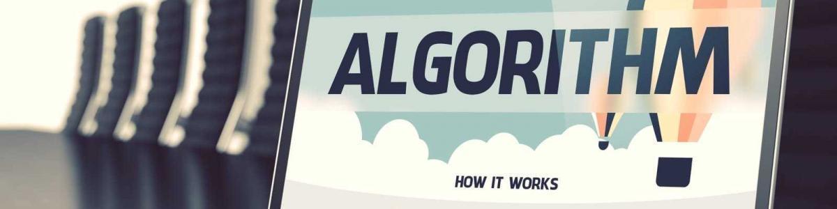 アルゴリズムのイメージの3Dランディングページ