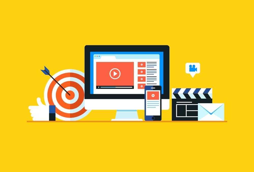 PCとスマートフォンに動画コンテンツが表示されているイラスト