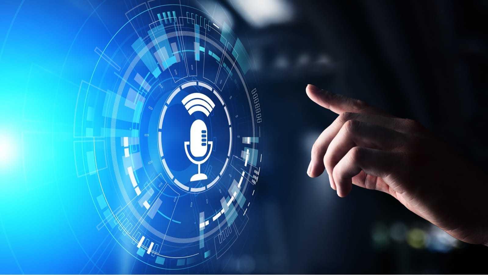 仮想画面上の音声認識検索とマイク記号