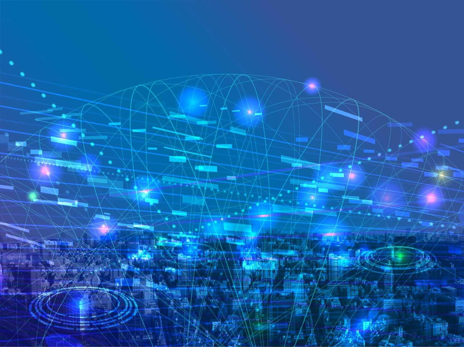 デジタルネットワーク網が広がるイメージ
