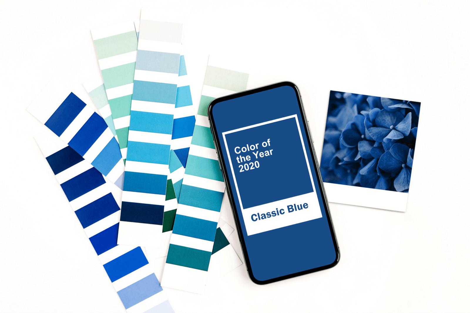 2020年の色を写したスマートフォンと色見本