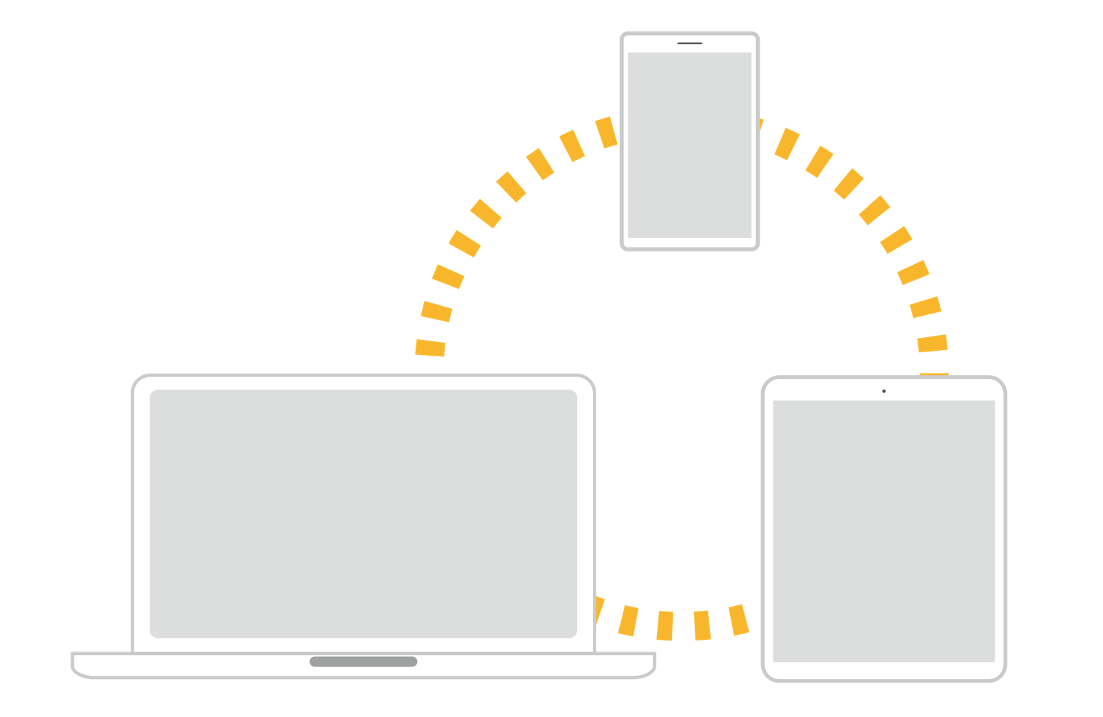 パソコン、スマホ、タブレットのイラスト