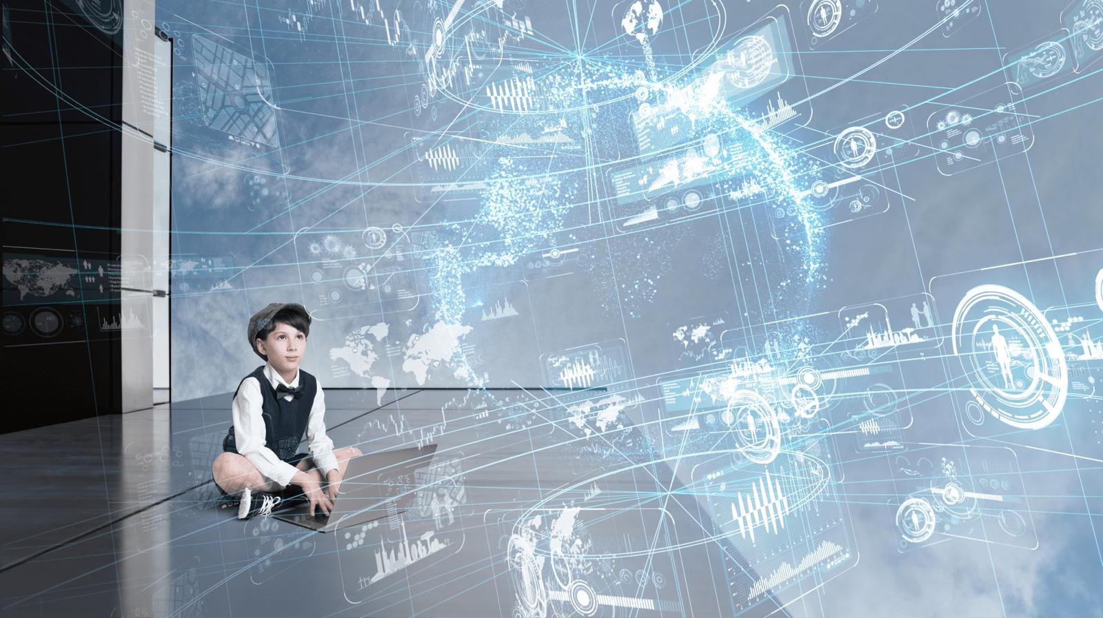 少年の上にデジタルイメージが浮かび上がる、イメージ図