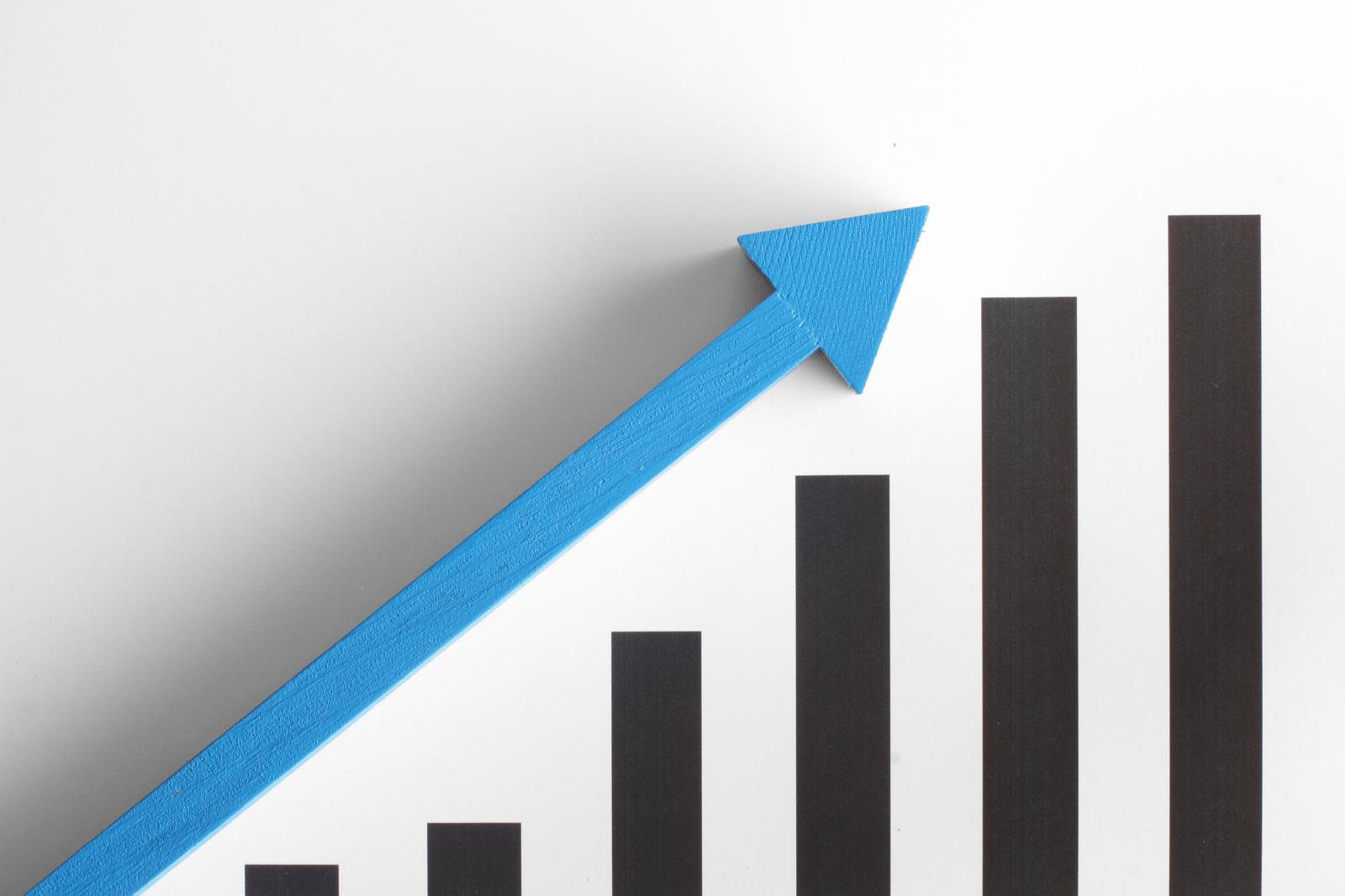 景気の上昇と下降の棒グラフと矢印