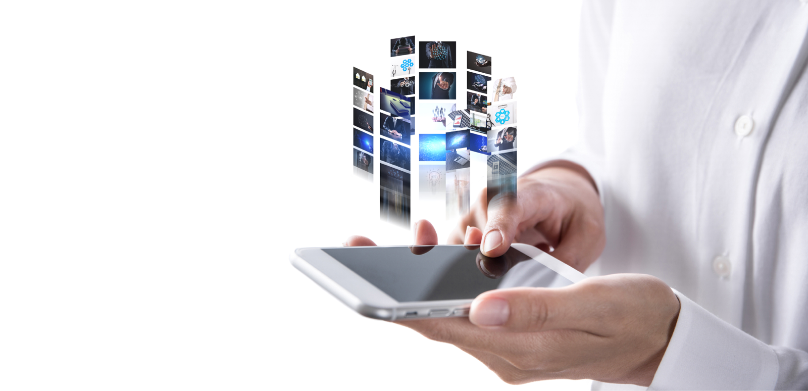 スマートフォン上に浮かび上がる複数の映像アーカイブ