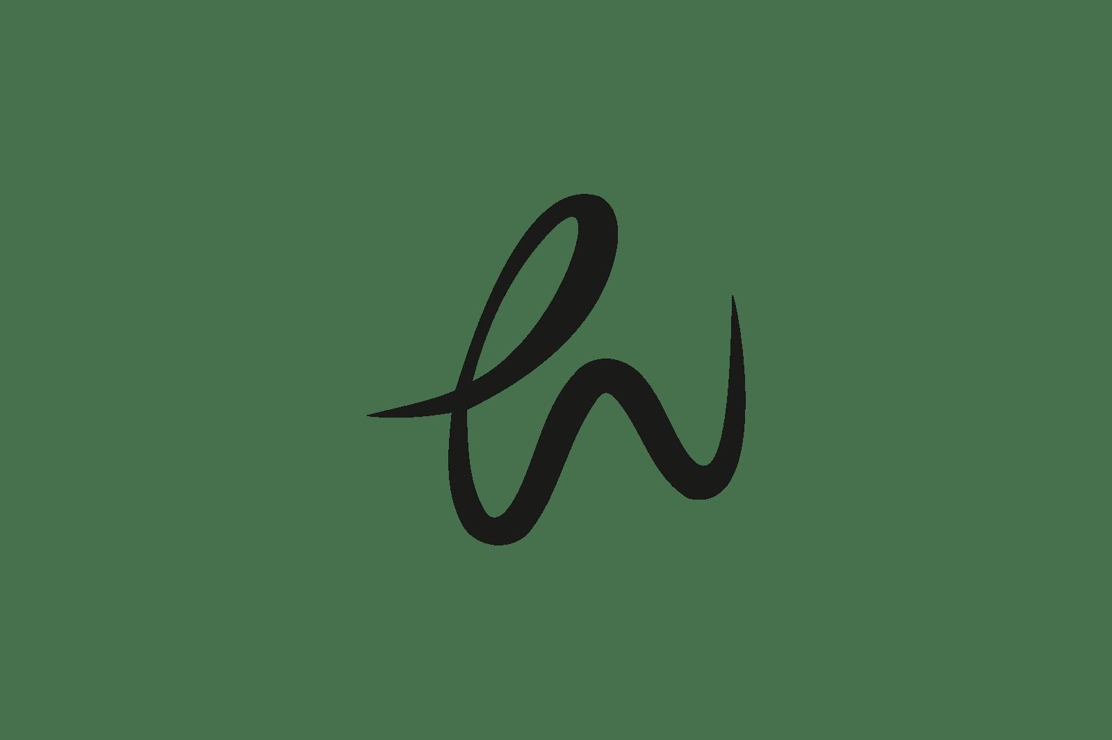 筆記体の「h」