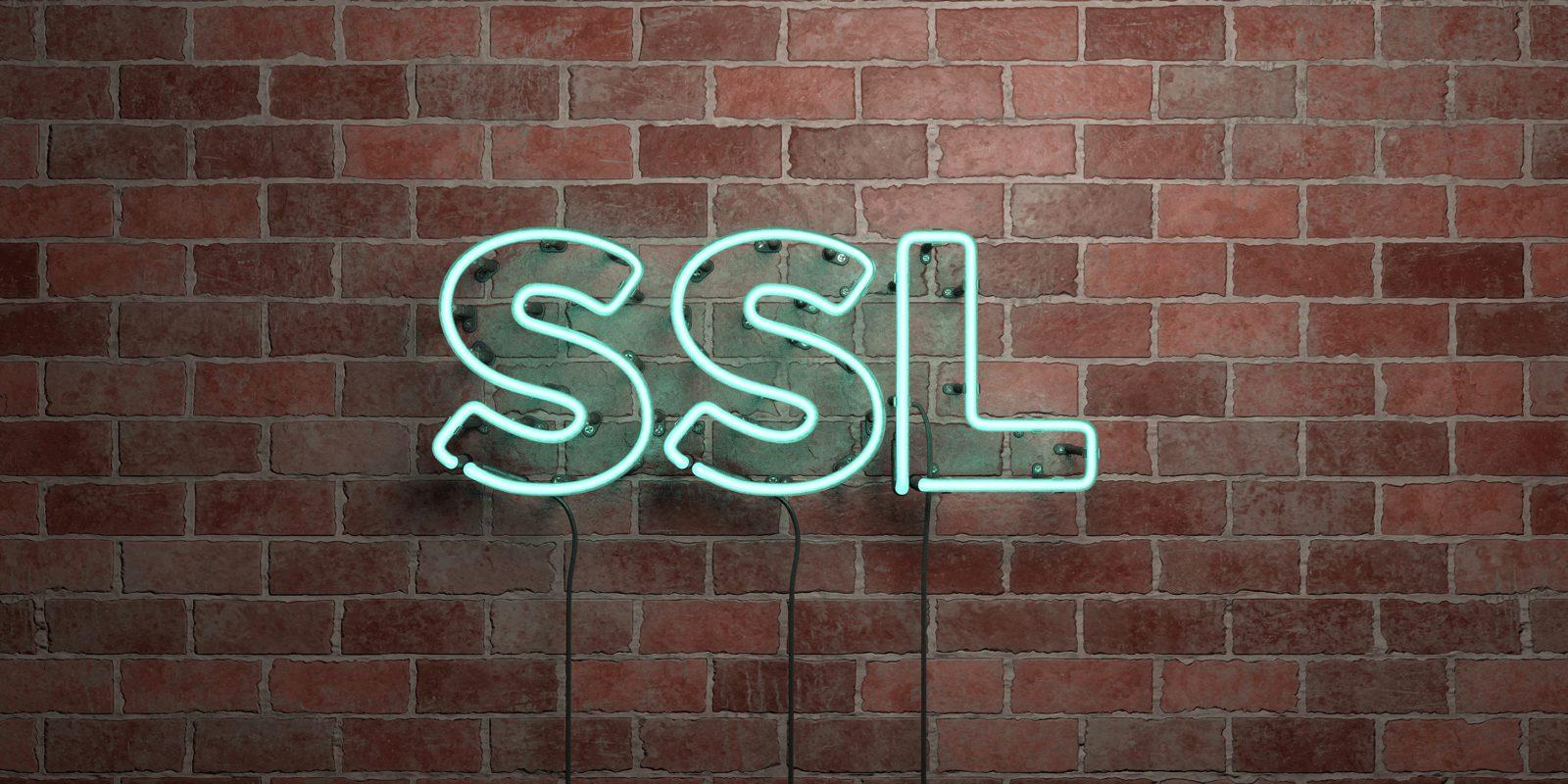 ネオン文字で書かれた「SSL」