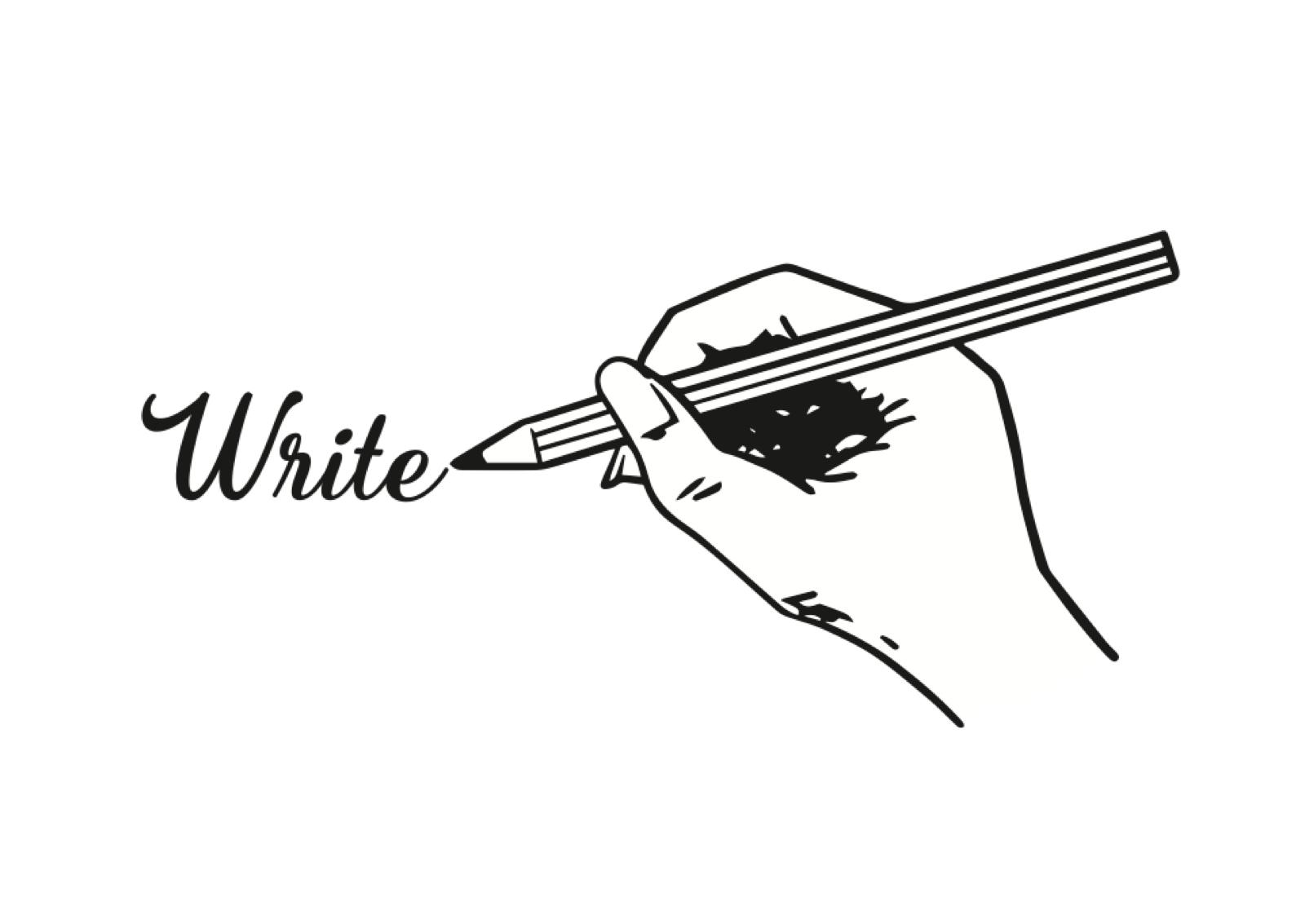 「White」と鉛筆で書くイラスト