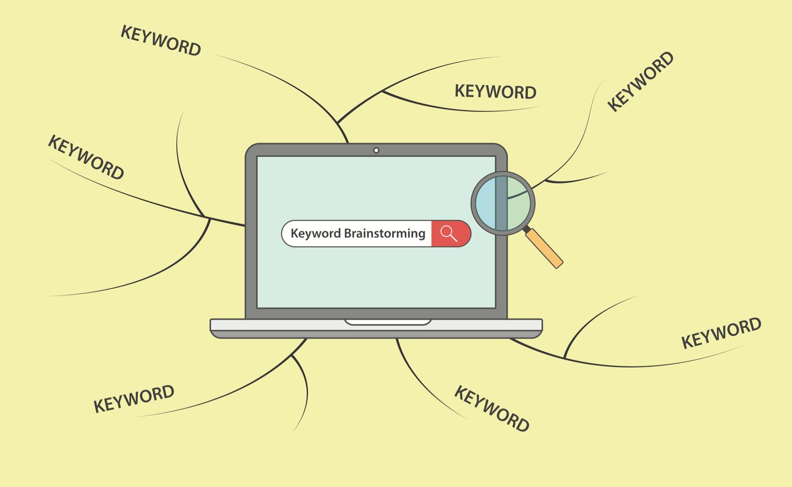 ノートパソコンに描かれた検索窓と、そこから伸びるキーワードの網