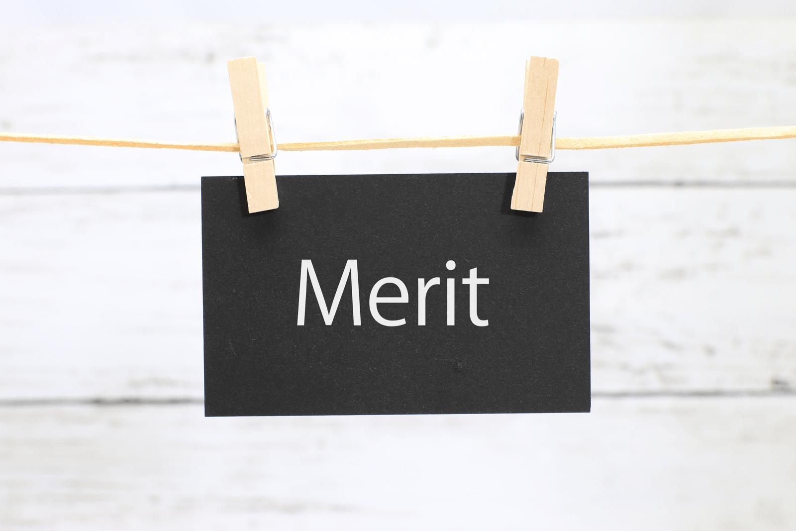洗濯挟みに吊るされた「Merit」のカード