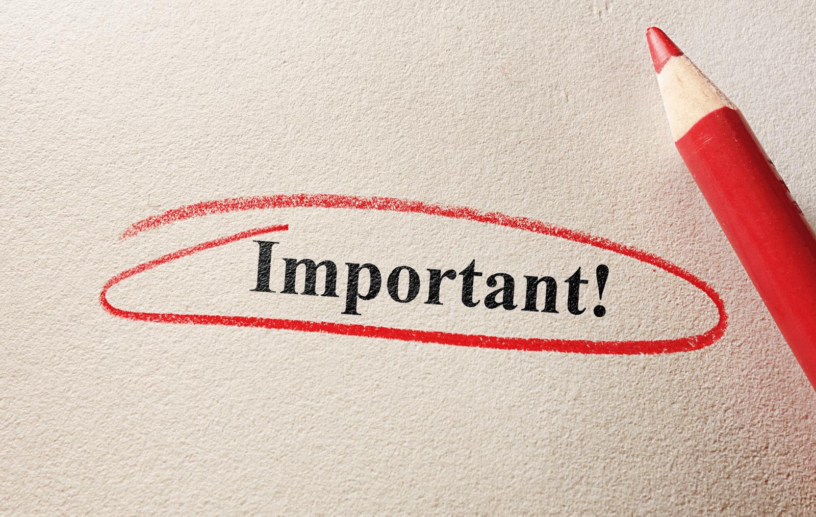 「Important」の文字が赤えぴつで丸く囲まれている様子