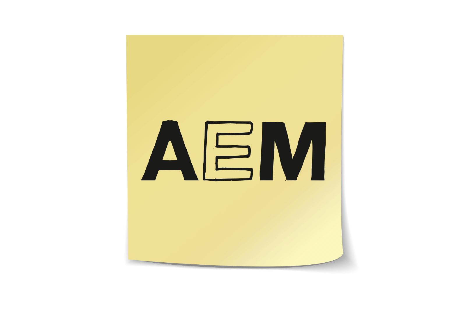 AEMという単語が付箋に書かれている